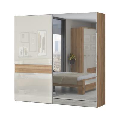 Tolóajtós magasfényű gardróbszekrény, 230x224 cm, tükörrel, törtfehér-diófa - ALIZE